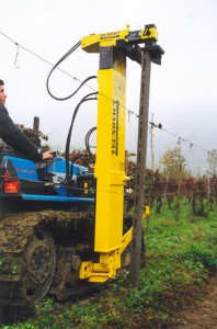 Stake driver for vineyard